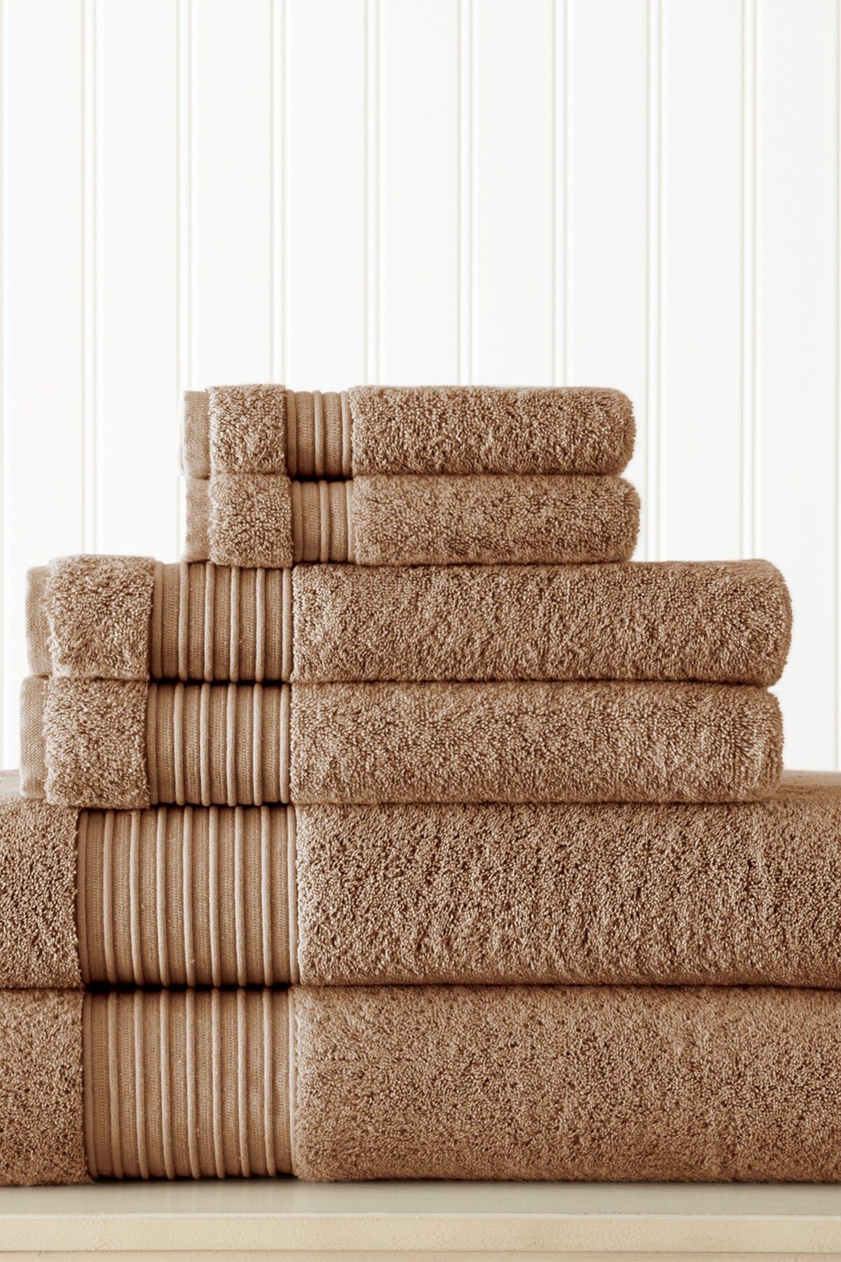 Image of Modern Threads 6-Piece Turkish Cotton Towel Set - Mocha