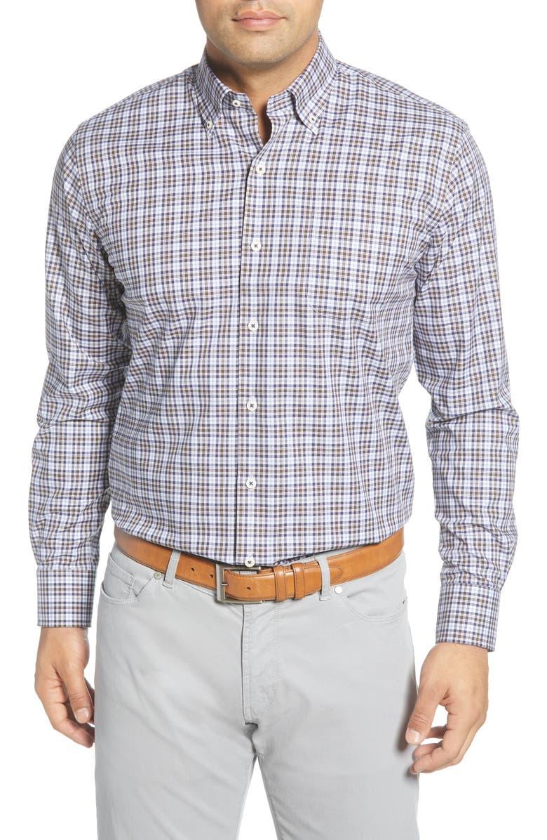 PETER MILLAR Crown Ease Worth Regular Fit Check Button-Down Shirt, Main, color, MALT