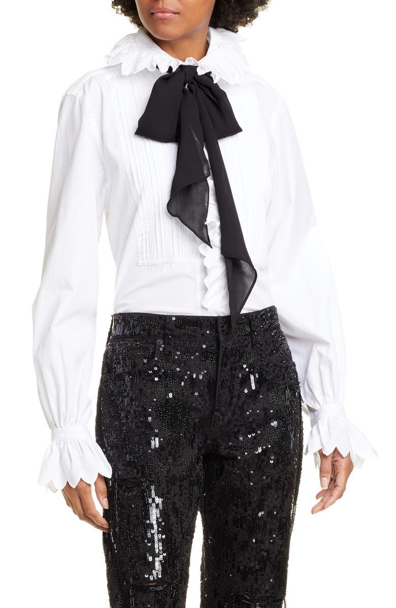 POLO RALPH LAUREN Ruffle Long Sleeve Shirt, Main, color, WHITE
