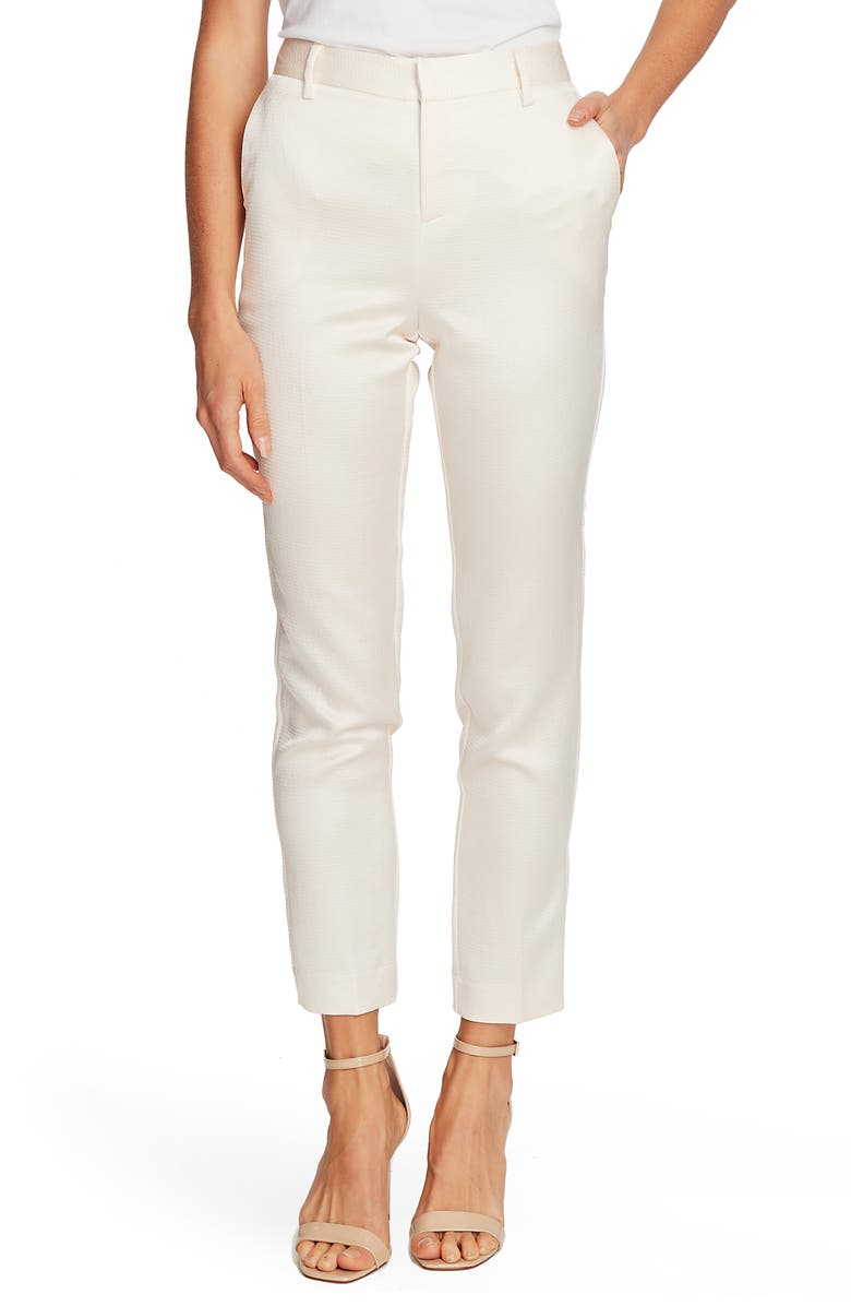 VINCE CAMUTO Seersucker Satin Slim Leg Trousers, Main, color, CASA BLANCA