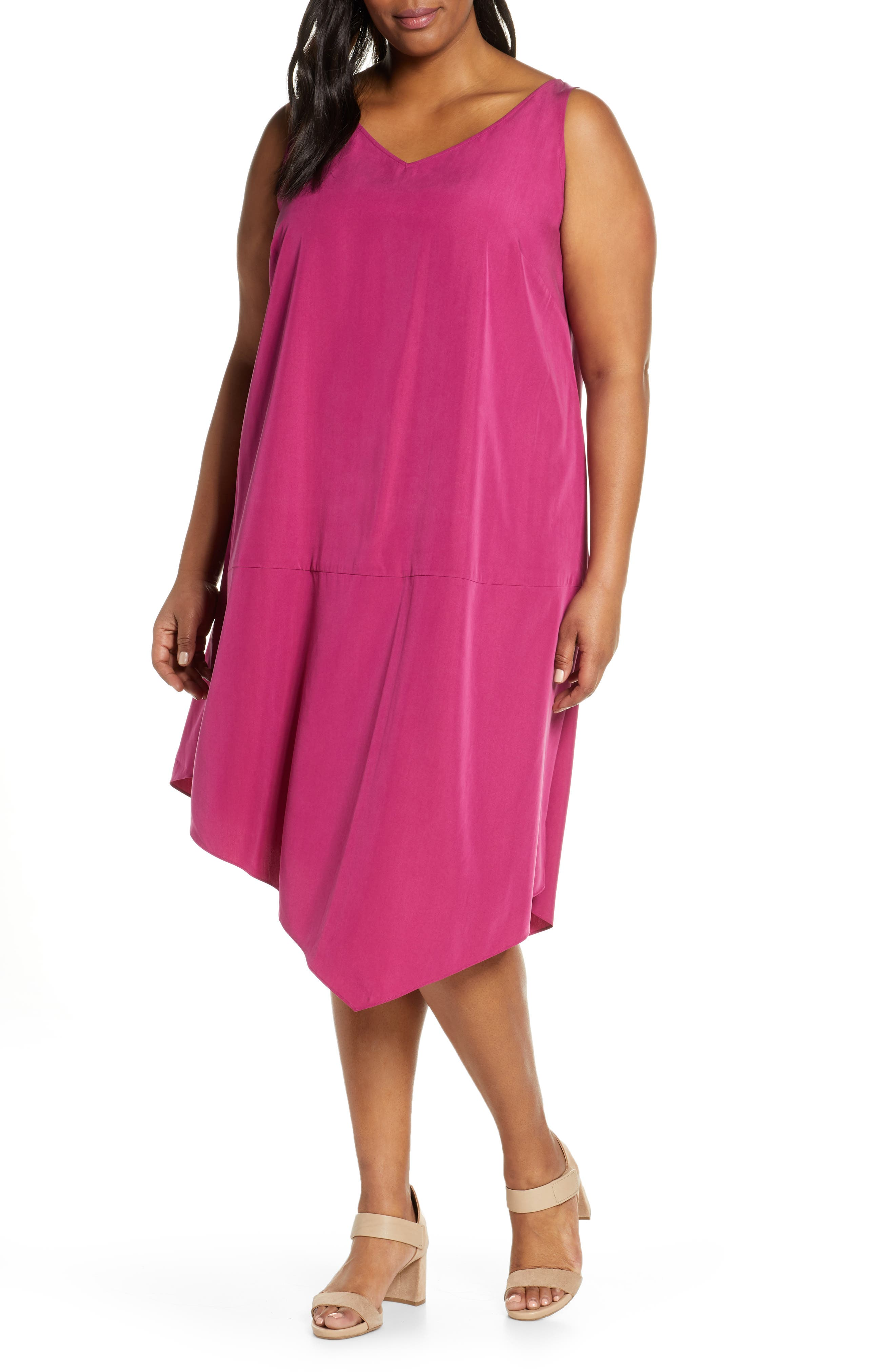 Plus Size Eileen Fisher Asymmetrical Shift Dress, Pink