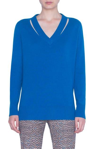 Akris Punto Sweaters LUNA CUTOUT WOOL & CASHMERE SWEATER