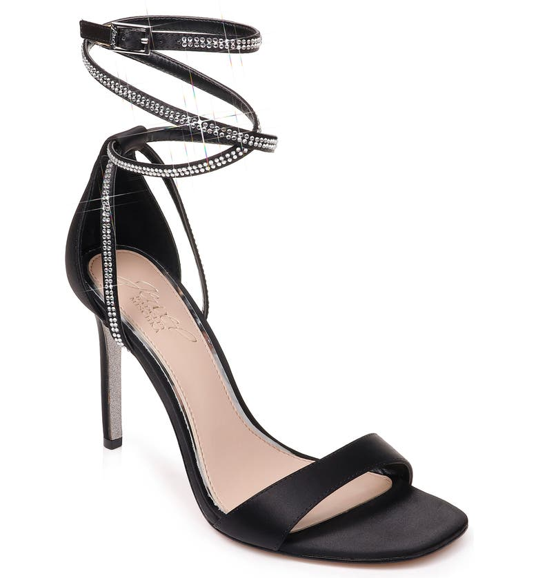 JEWEL BADGLEY MISCHKA Shaylee Crystal Embellished Sandal, Main, color, BLACK SATIN