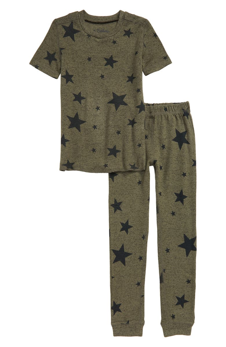 PJ SALVAGE Star Print Fitted Two-Piece Pajamas, Main, color, OLIVE