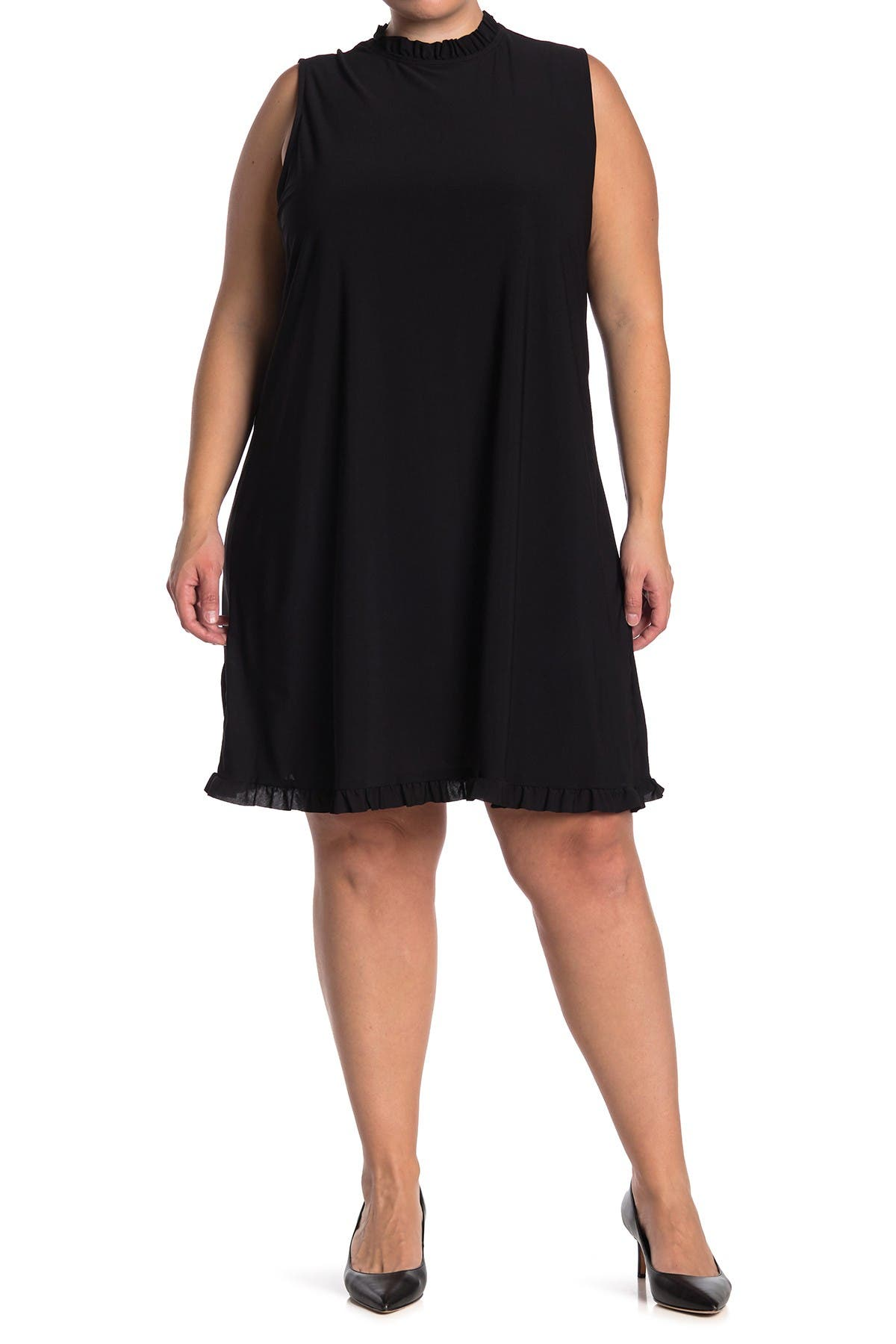 Image of TASH + SOPHIE Ruffle Trim Sleeveless Shift Dress