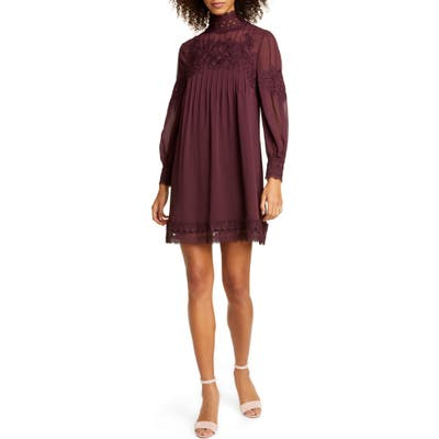 Ted Baker London Anneah High Neck Lace Tunic Dress, (fits like 14 US) - Purple