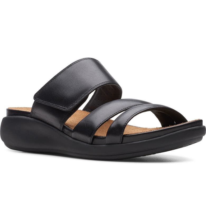 CLARKS<SUP>®</SUP> Un Bali Way Slide Sandal, Main, color, BLACK/ BLACK LEATHER