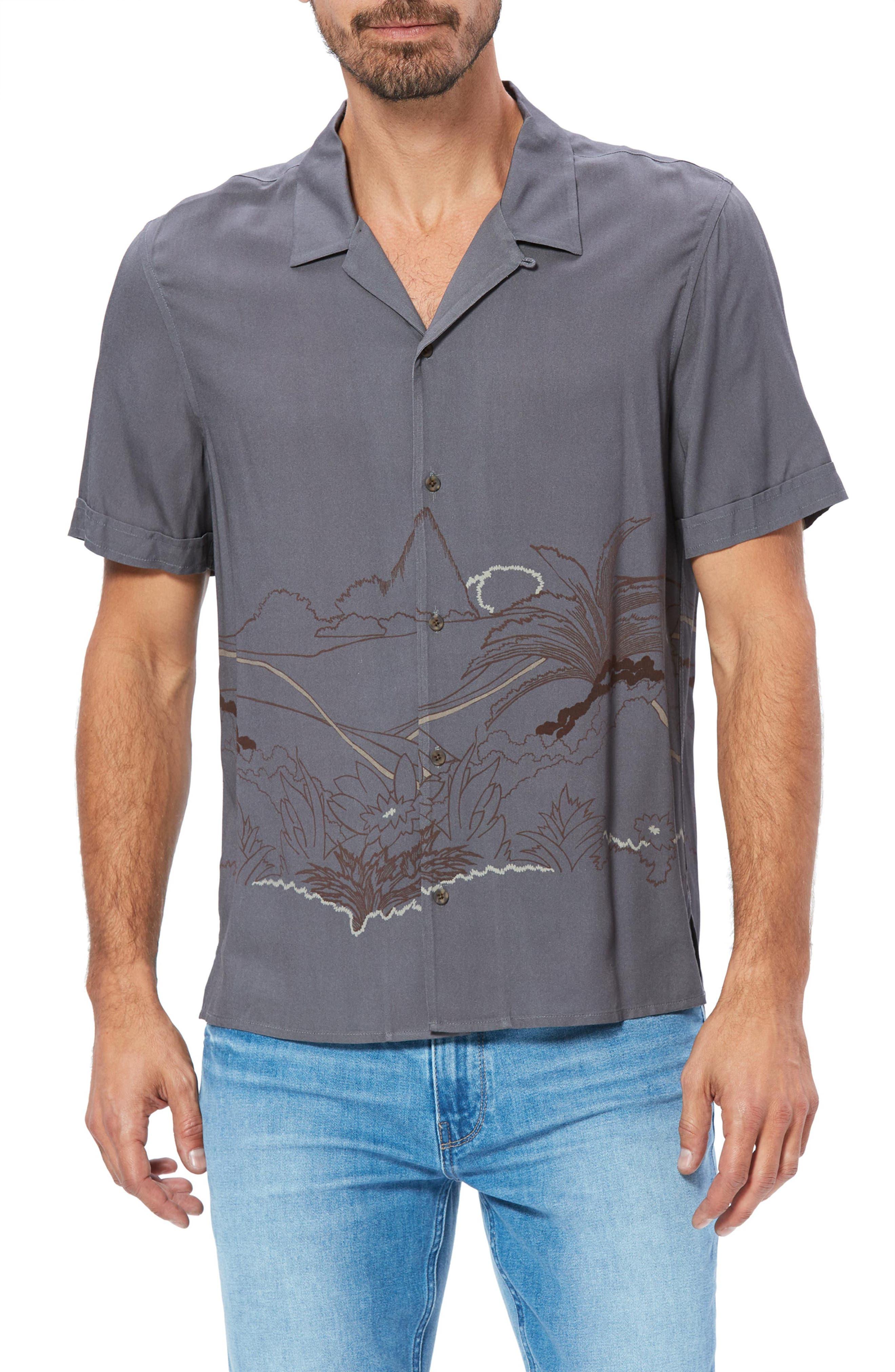 Image of PAIGE Landon Tropical Print Short Sleeve Shirt