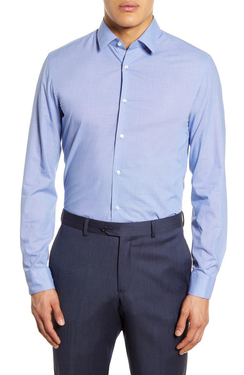 BOSS Slim Fit Solid Dress Shirt, Main, color, BLUE