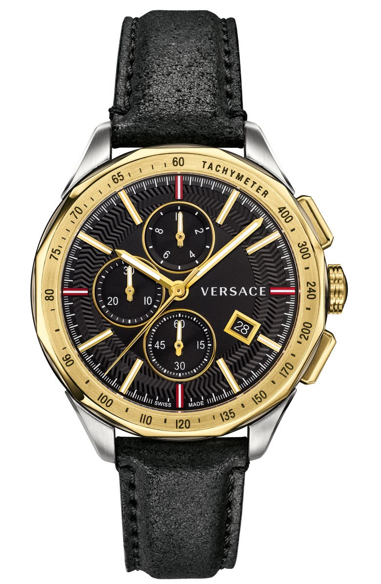VERSACE Glaze Chronograph Leather Strap Watch, 44mm, Main, color, 001