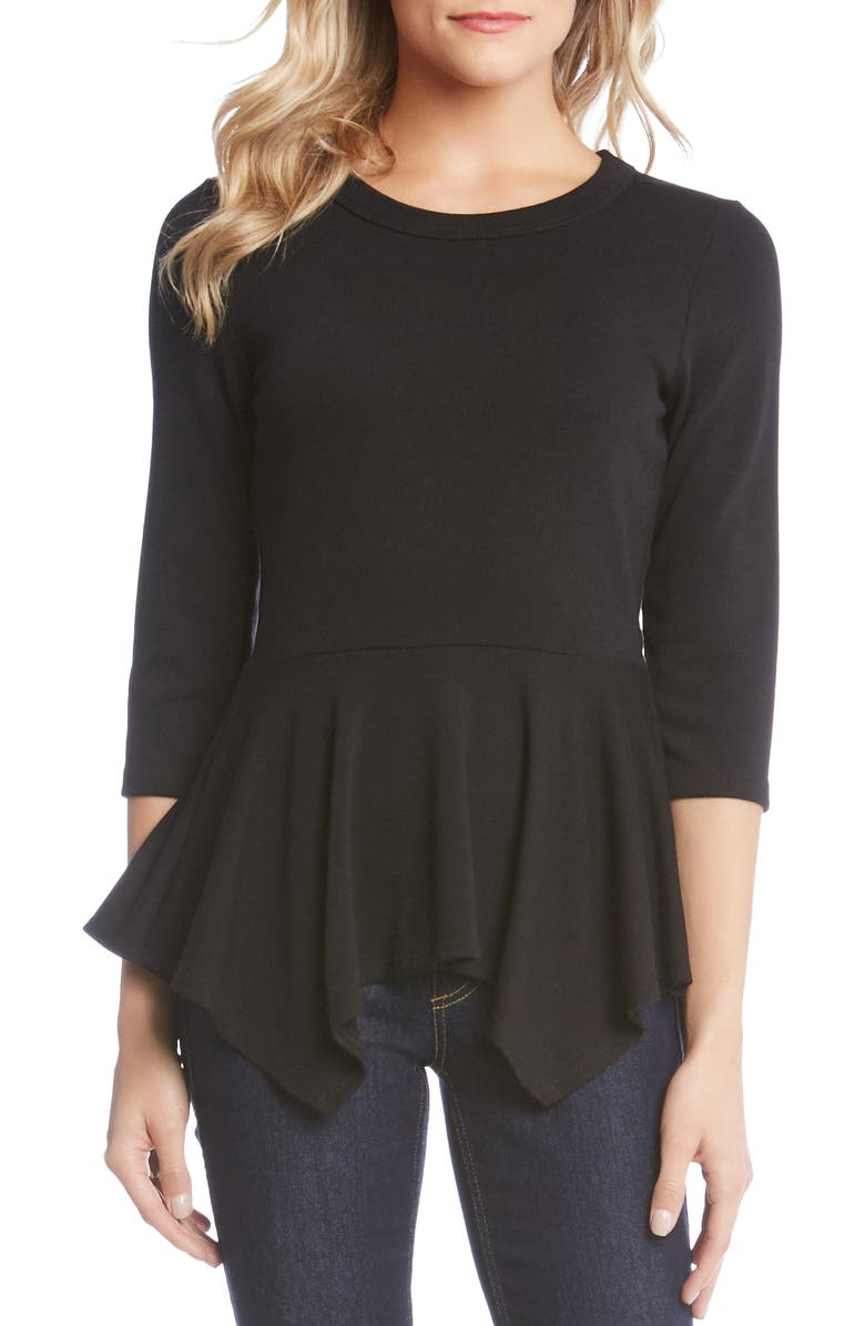 KAREN KANE Handkerchief Peplum Sweater, Main, color, 001