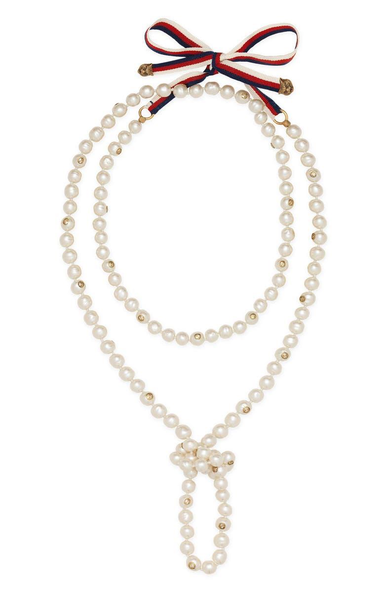 GUCCI Long Imitation Pearl Necklace, Main, color, 100