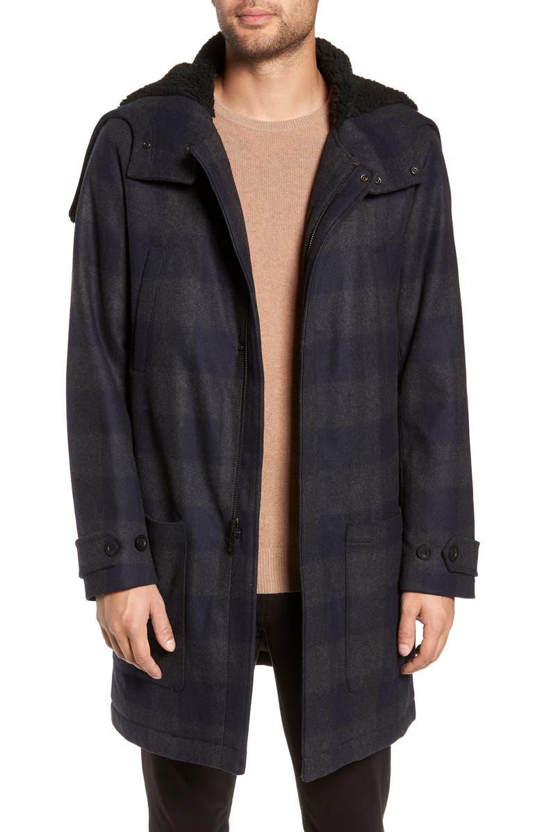 VINCE Plaid Duffle Coat, Main, color, H CHARCOAL