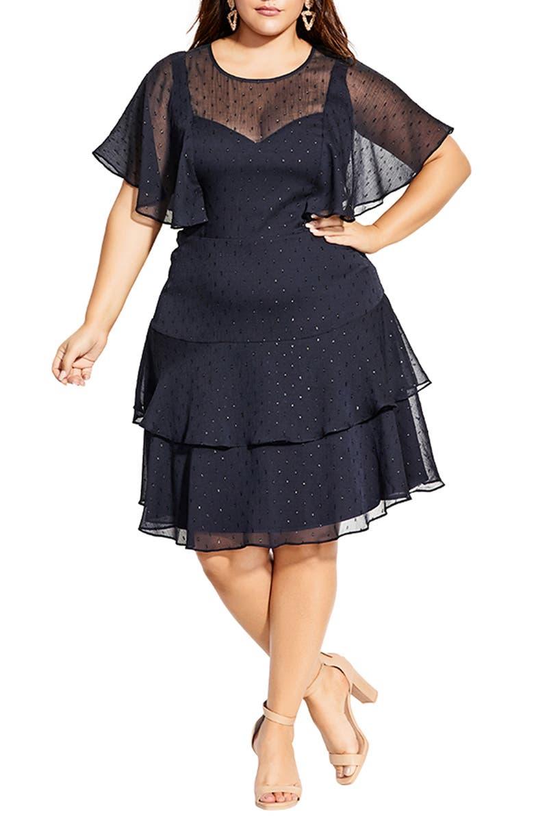 CITY CHIC Metallic Textured Dot Ruffle Dress, Main, color, NAVY