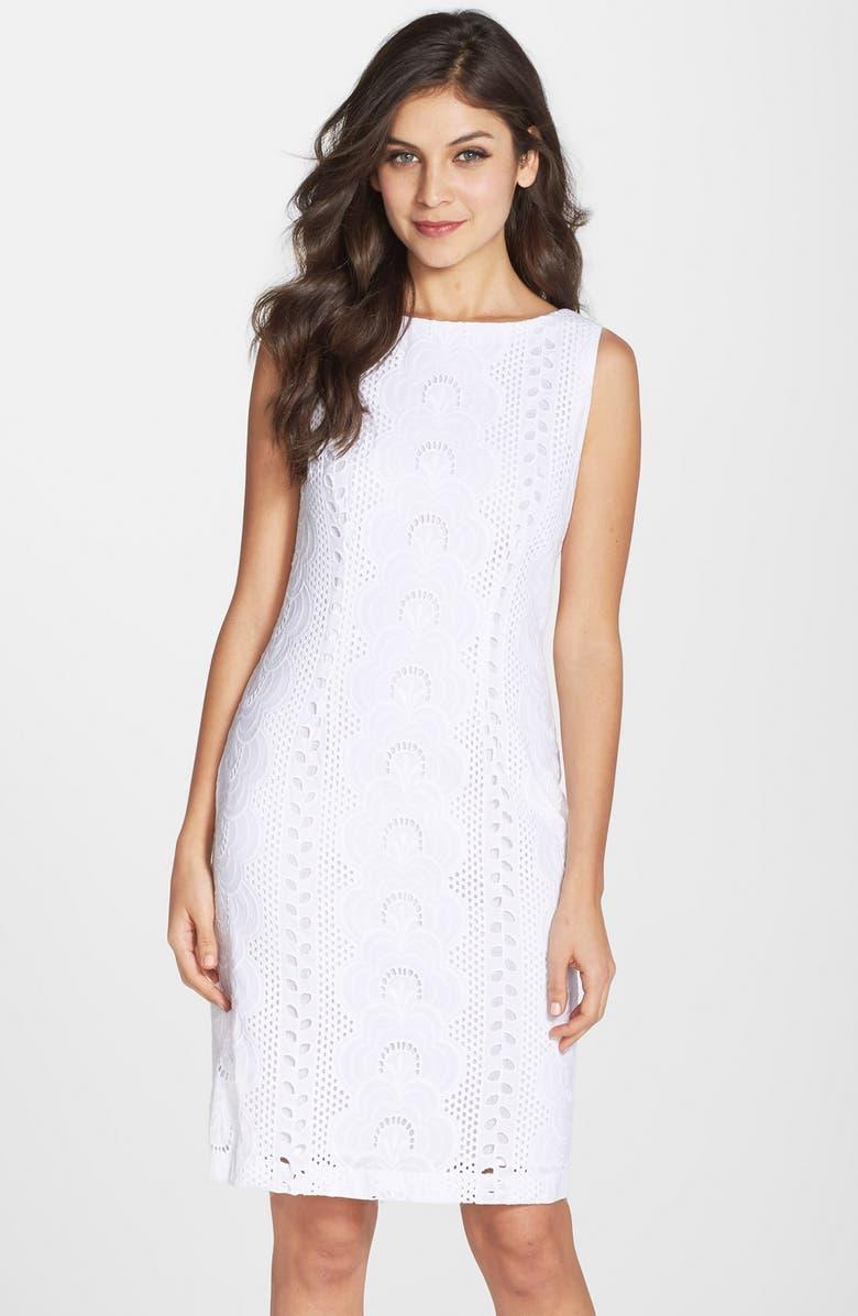 CHETTA B Cotton Eyelet Sheath Dress, Main, color, 100