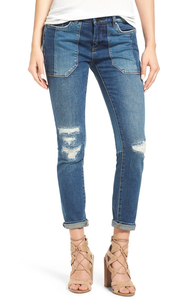 BLANKNYC Destroyed Skinny Jeans, Main, color, 400