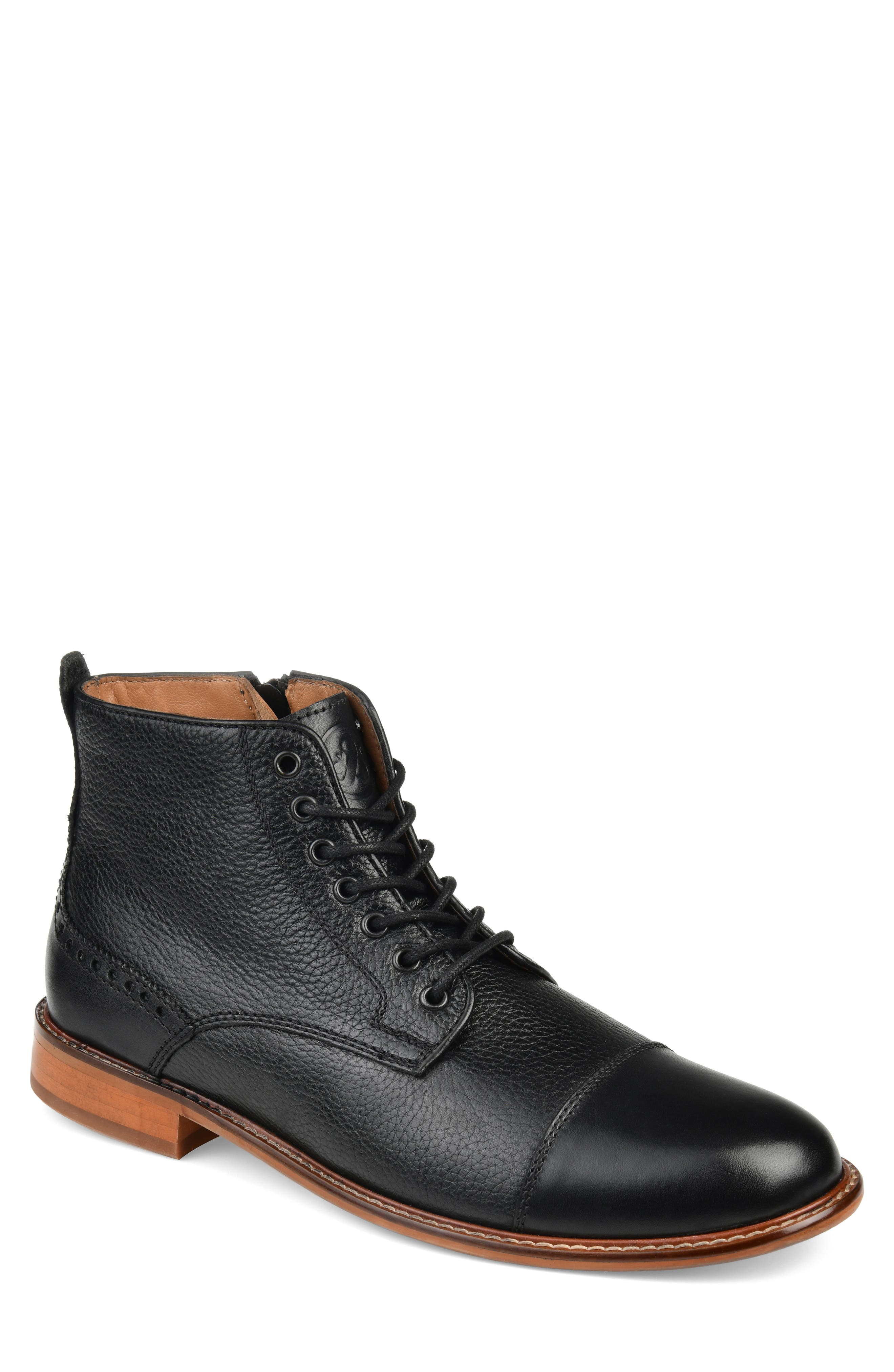 Brogue touches mark a stylish boot built from richly textured leather and featuring a padded footbed for comfort. Style Name: Thomas & Vine Malcom Cap Toe Boot (Men). Style Number: 5947143. Available in stores.