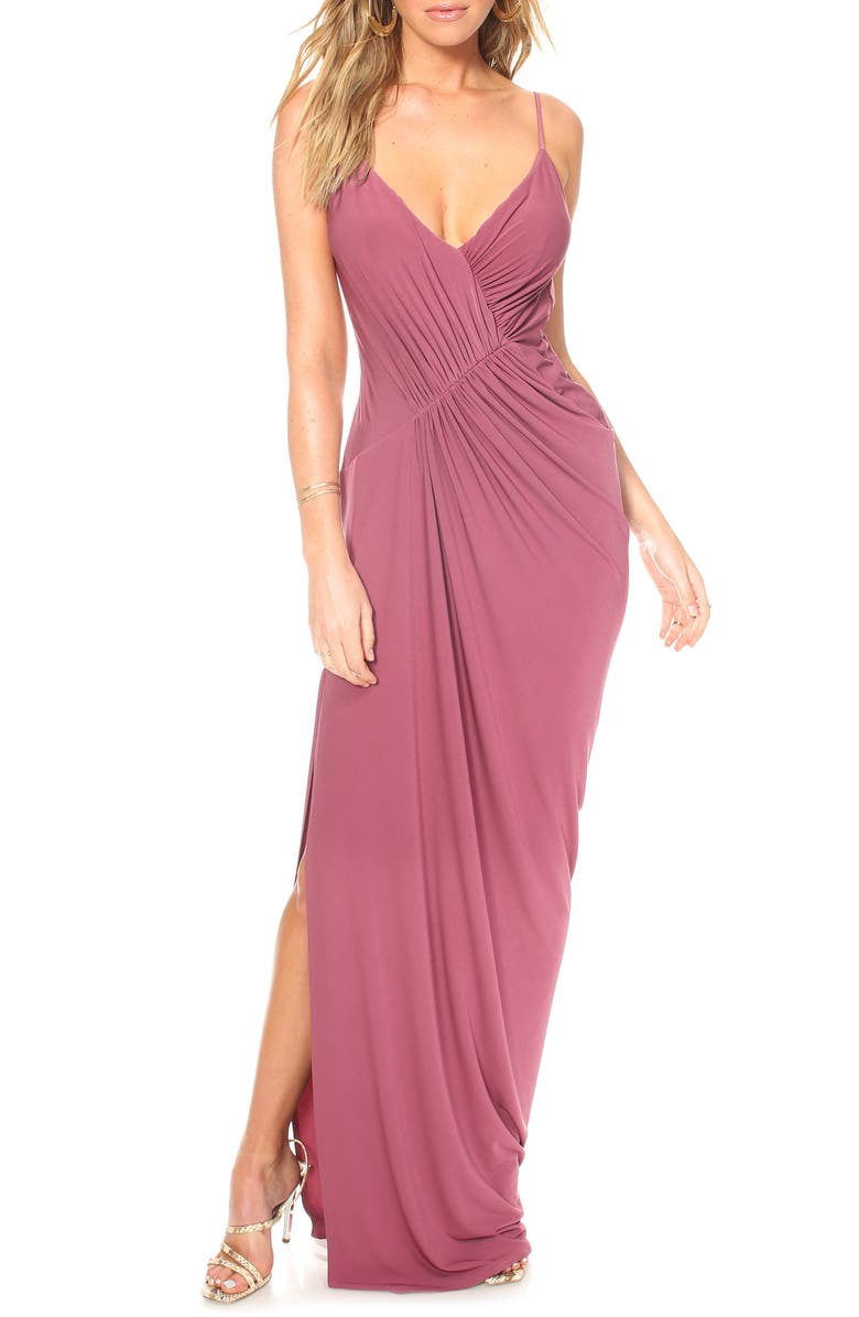 KATIE MAY Ruched Side Drape Evening Dress, Main, color, BERRY