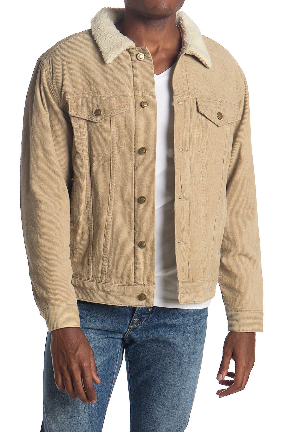 Image of COASTAORO Corduroy & Faux Shearling Trucker Jacket