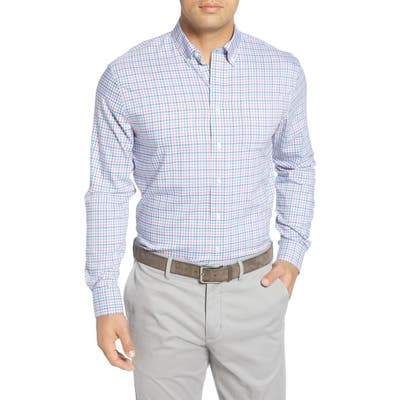 Johnnie-O Stan Check Button-Down Performance Shirt, Pink