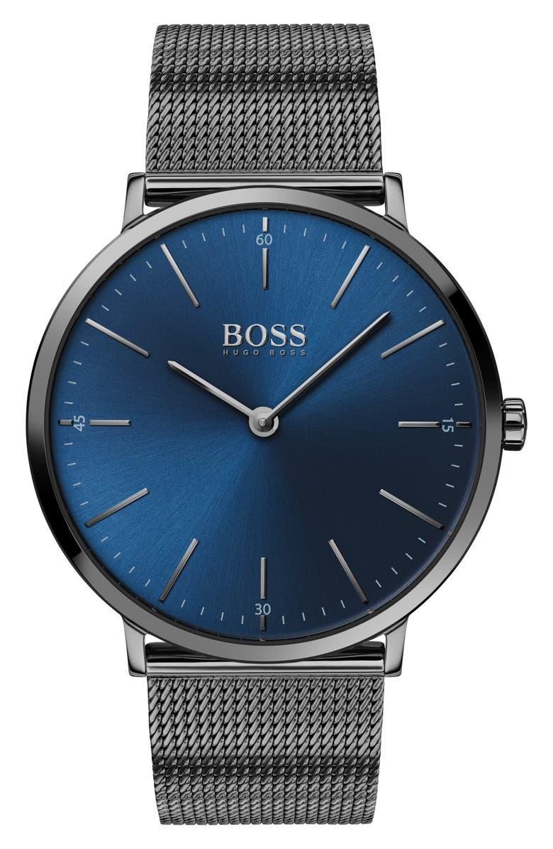BOSS Horizon Mesh Strap Watch, 40mm, Main, color, GUNMETAL/ BLUE/ GUNMETAL