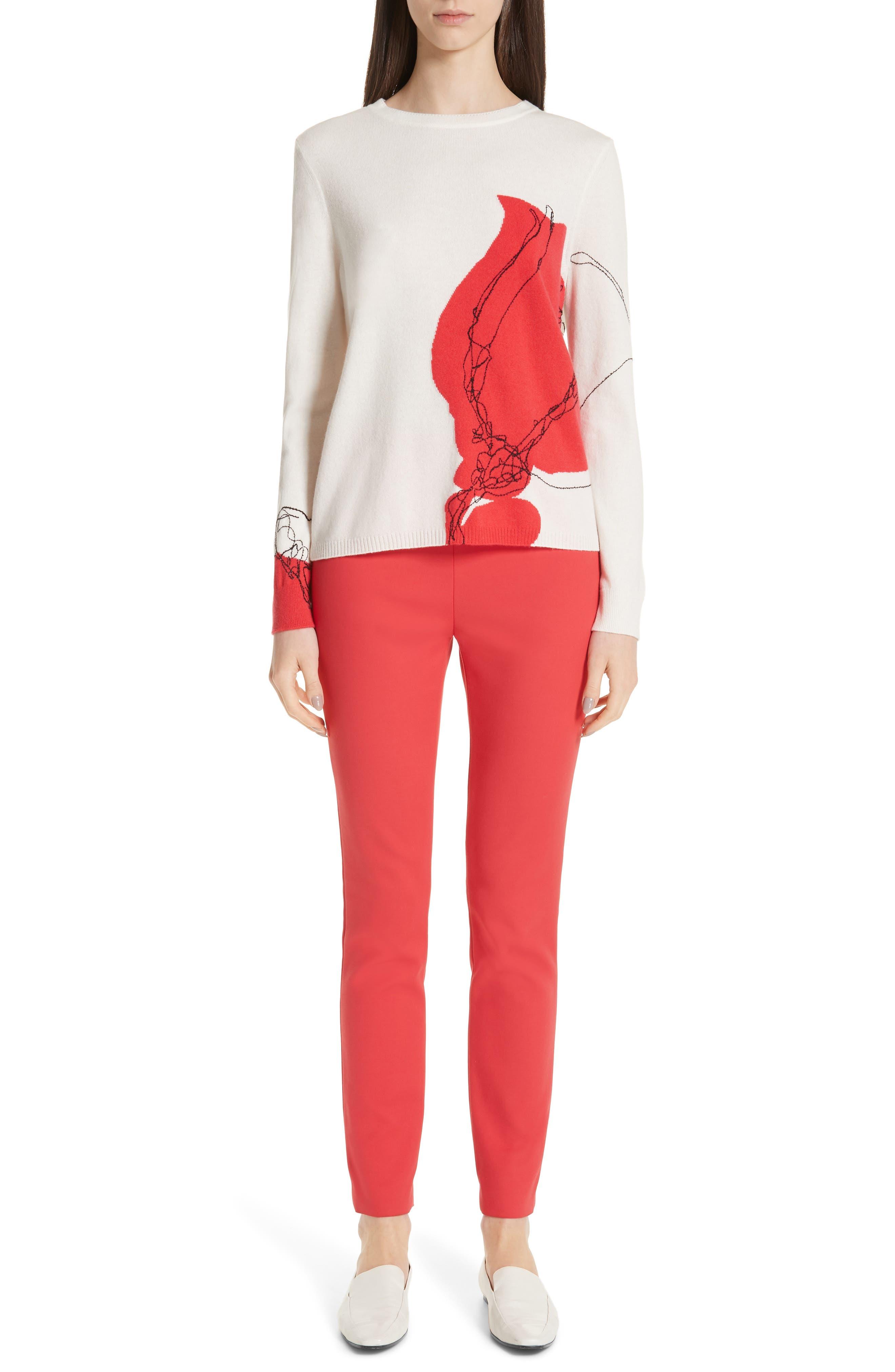 ,                             Intarsia Knit Cashmere Jersey Sweater,                             Alternate thumbnail 8, color,                             CREAM/ CRIMSON