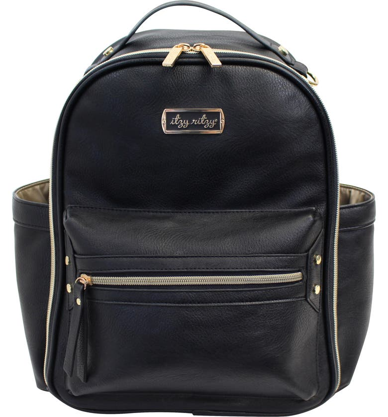 ITZY RITZY Faux Leather Mini Diaper Backpack, Main, color, BLACK