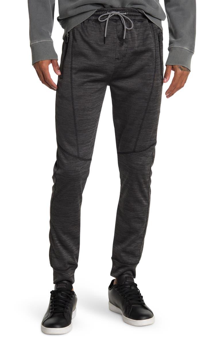 BURNSIDE Space Dye Zip Pocket Fleece Joggers, Main, color, HEATHER BLACK