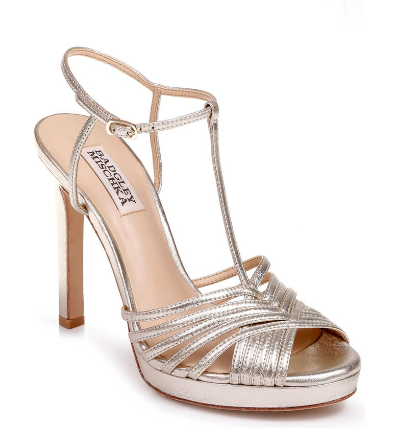 BADGLEY MISCHKA COLLECTION Badgley Mischka Angelica Metallic T-Strap Sandal, Main, color, PLATINO METALLIC NAPPA LEATHER
