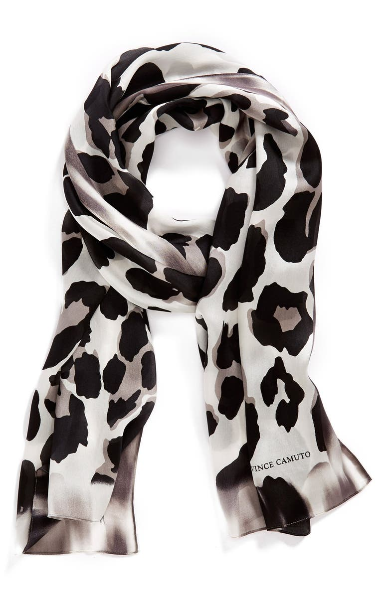 VINCE CAMUTO Collection XIIX 'Blur Cheetah' Silk Scarf, Main, color, 001