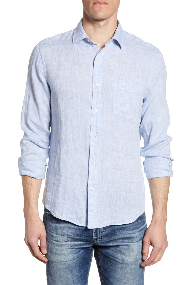 FAHERTY Regular Fit Linen Button-Up Shirt, Main, color, LIGHT BLUE MELANGE