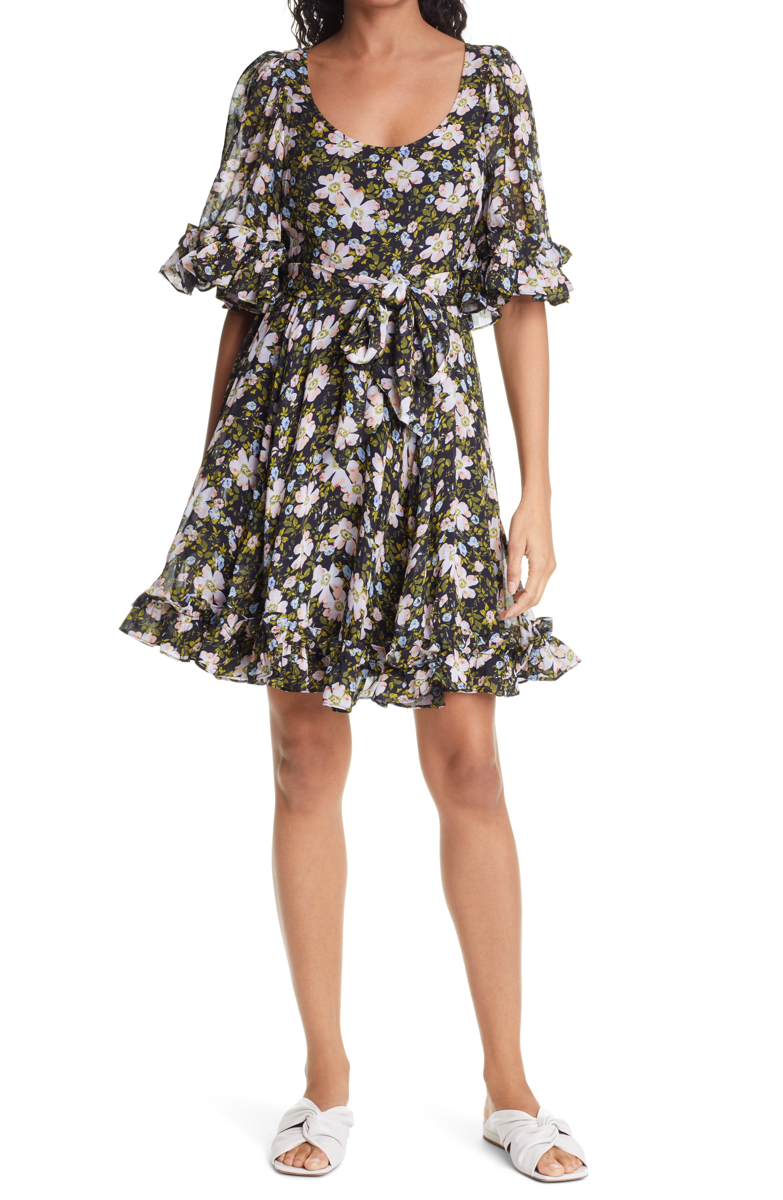 Georgette Floral Ruffle Belted Minidress
