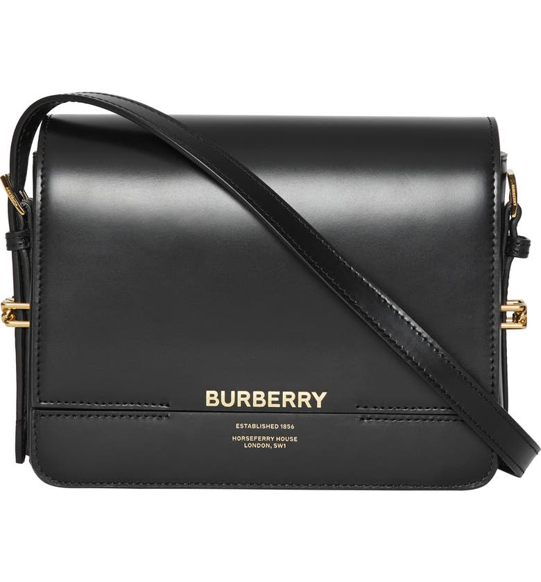 BURBERRY Small Grace Leather Crossbody Bag, Main, color, 001