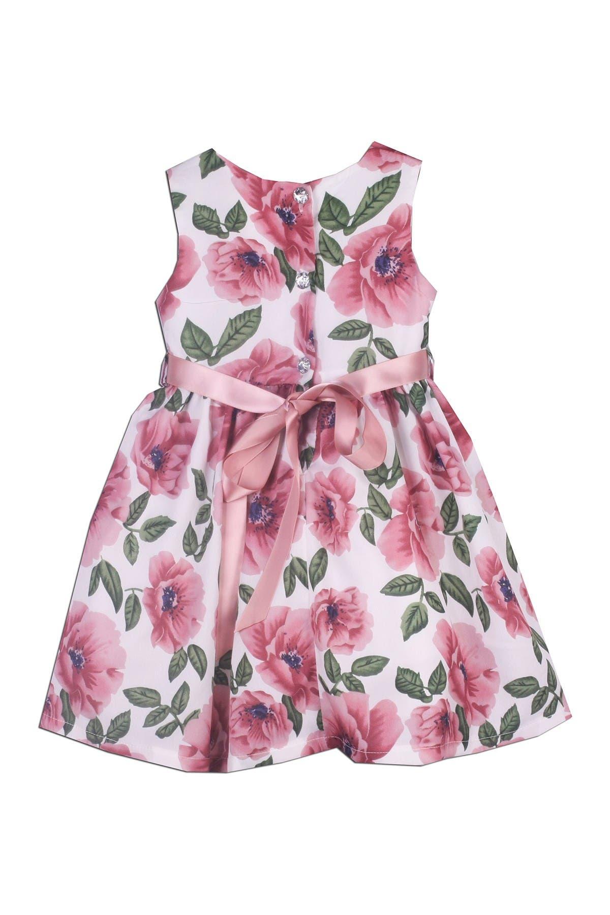 Image of Joe-Ella Mona Ribbon Accent Floral Dress