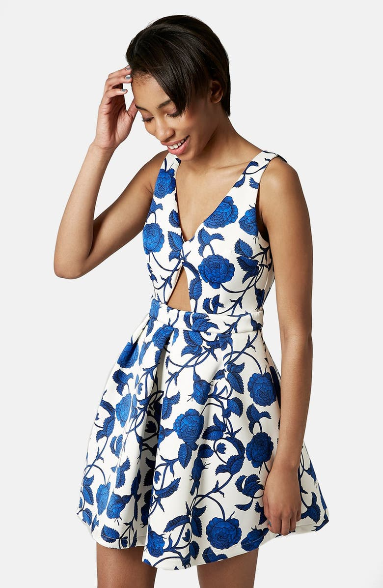 TOPSHOP Cutout Rose Print Dress, Main, color, 900