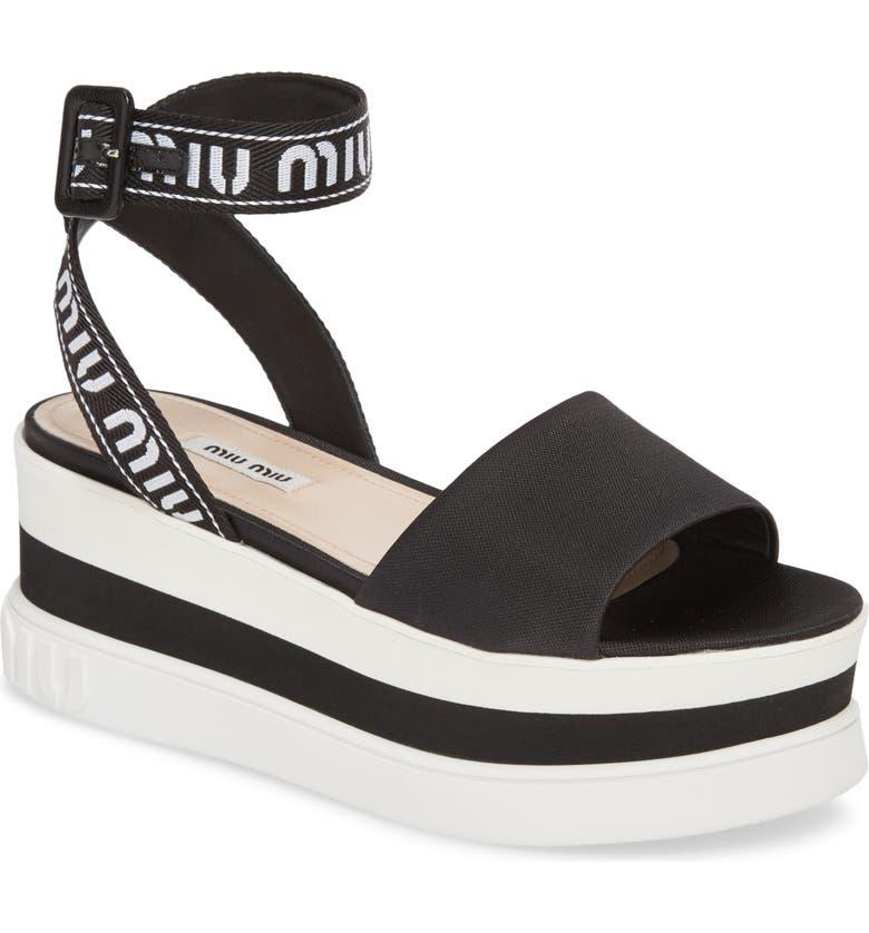 MIU MIU Flatform Logo Sandal, Main, color, 001