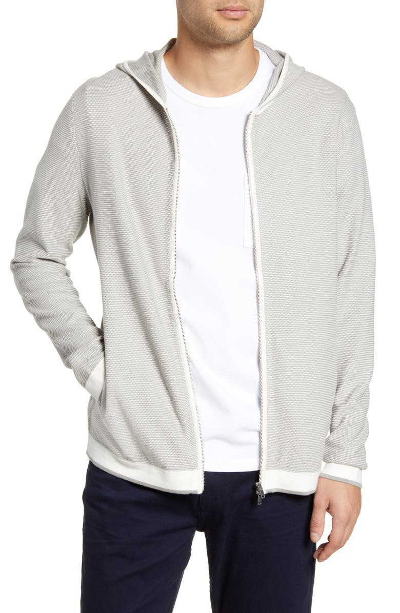 THEORY Braghe Regular Fit Zip Hooded Cardigan, Main, color, PARCHMENT MULTI