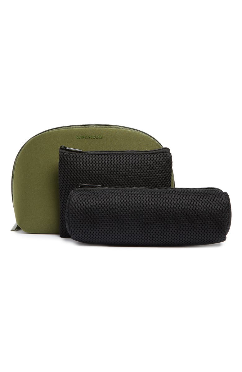 NORDSTROM Curved Cosmetic Bag, Main, color, OLIVE GREEN