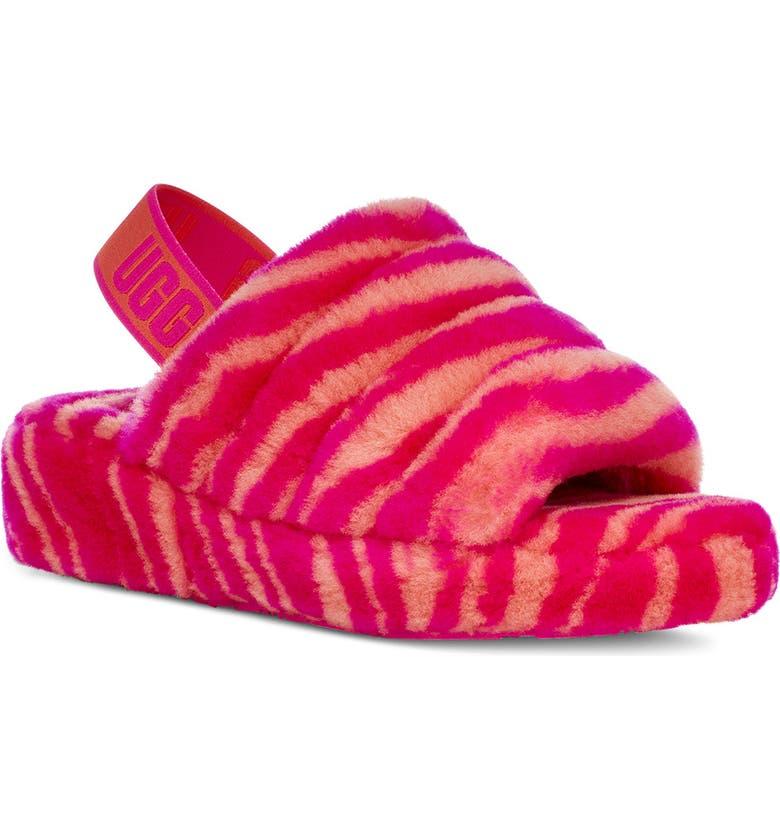UGG<SUP>®</SUP> Fluff Yeah Genuine Shearling Slingback Sandal, Main, color, ROCK ROSE ZEBRA PRINT