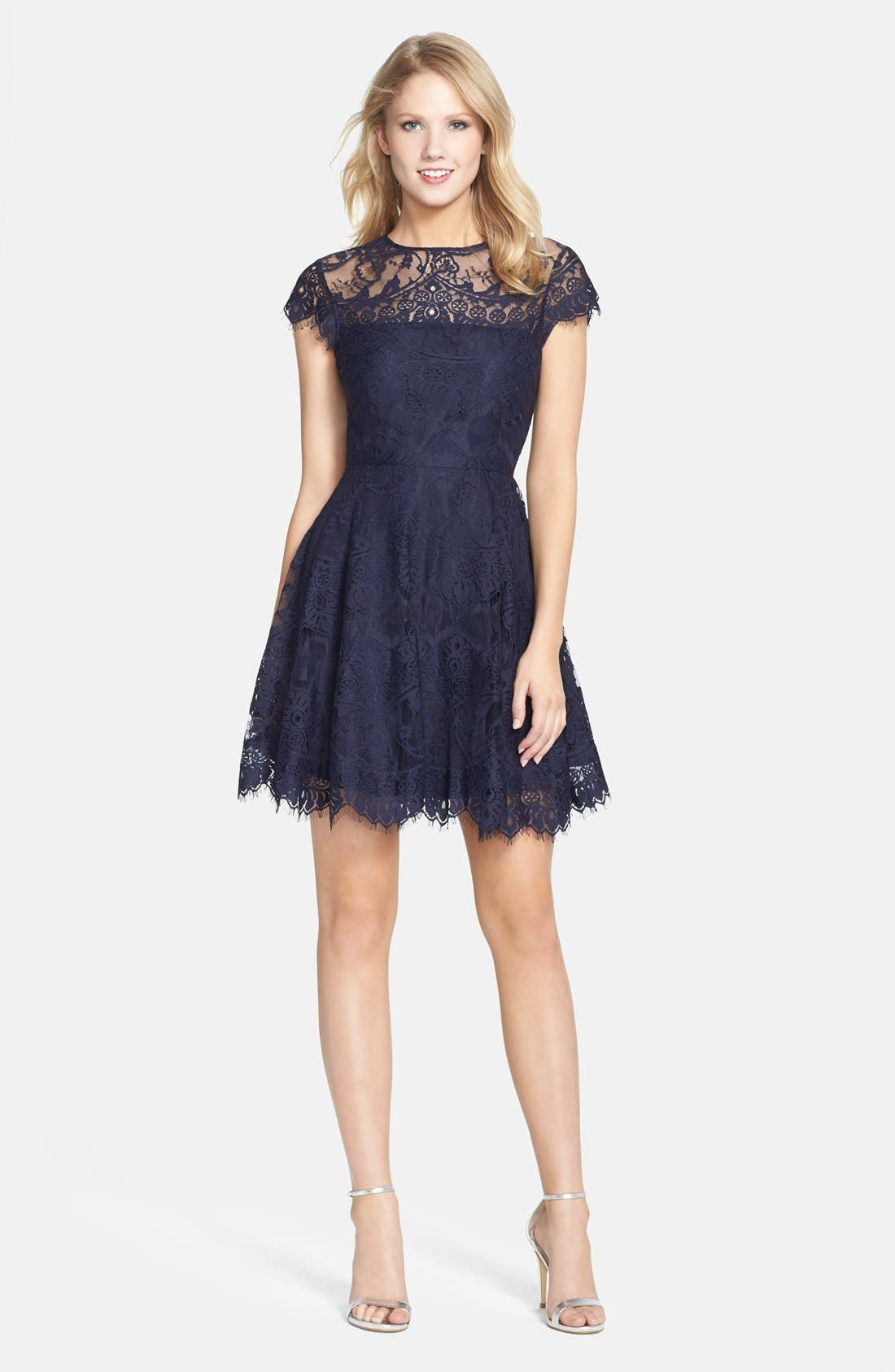 ,                             Rhianna Open Back Lace Fit & Flare Cocktail Dress,                             Alternate thumbnail 4, color,                             418