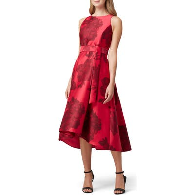 Tahari Floral Mikado Midi Dress, Red