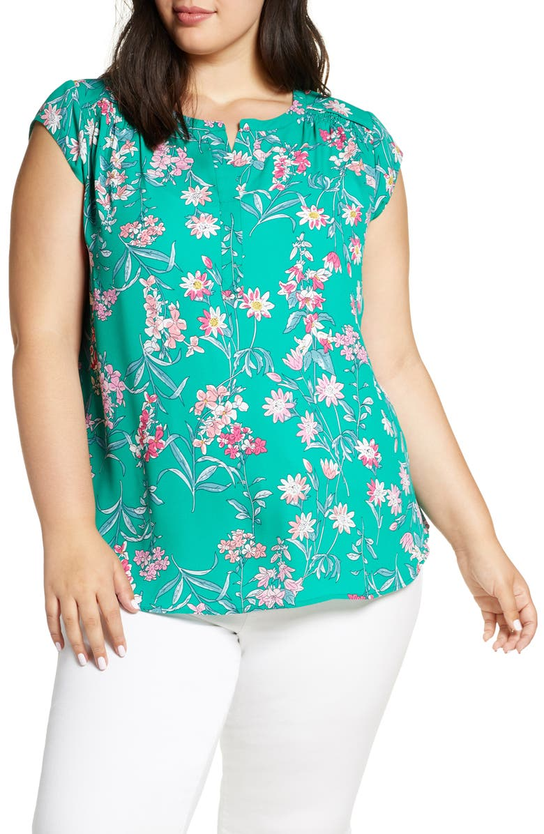 DANIEL RAINN Floral Woven Top, Main, color, F627N GREEN
