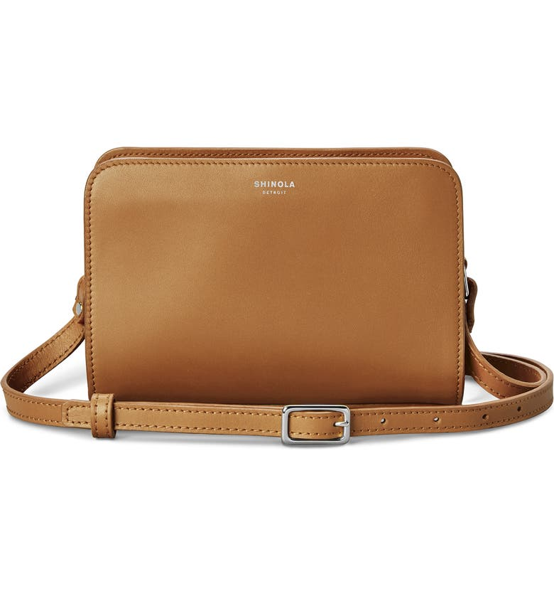 SHINOLA Mini Leather Crossbody Bag, Main, color, COGNAC