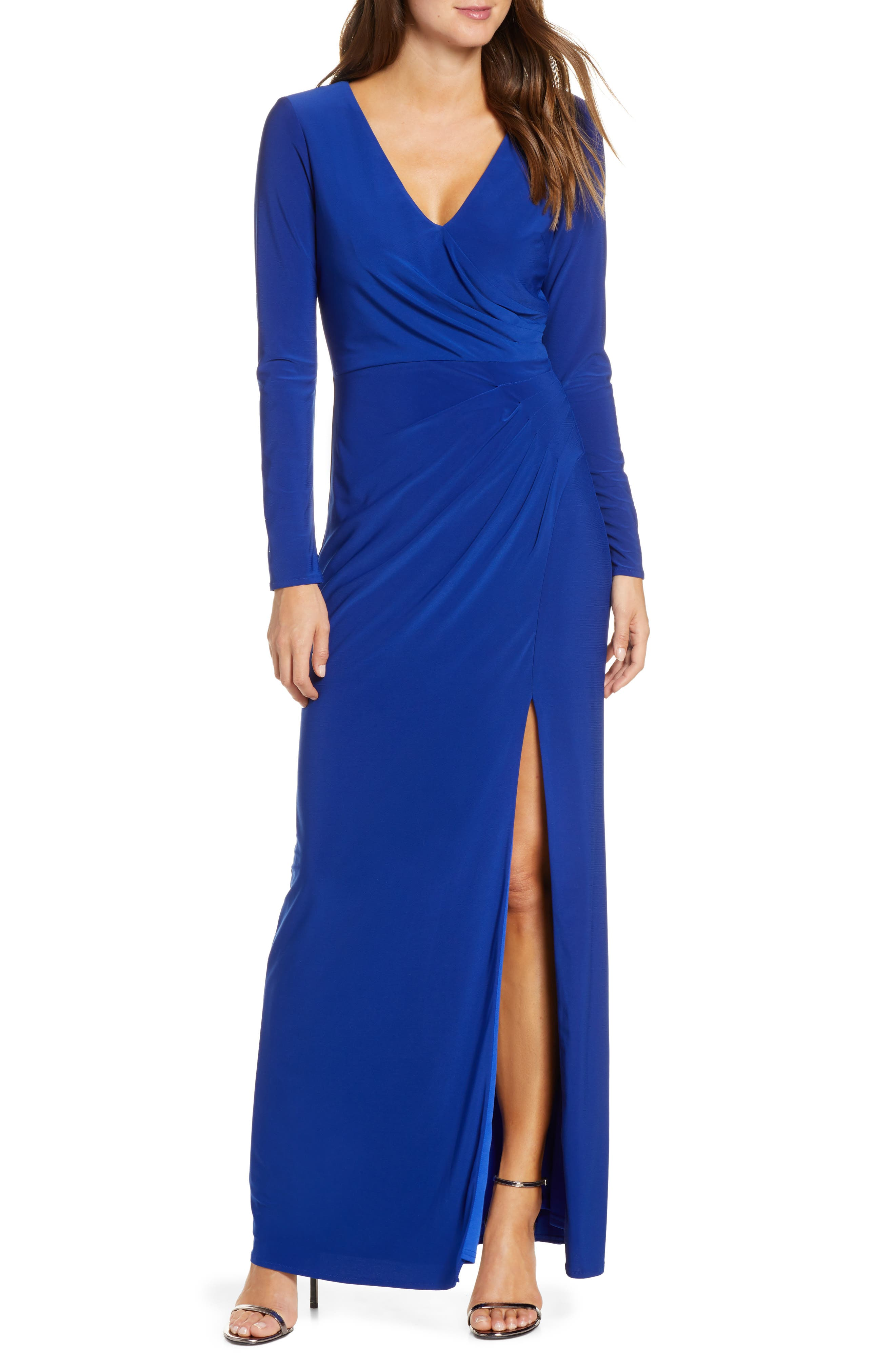 Vince Camuto Long Sleeve Ruched Knit Gown, Blue