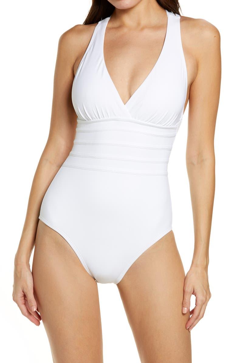 LA BLANCA Cross Back One-Piece Swimsuit, Main, color, WHITE