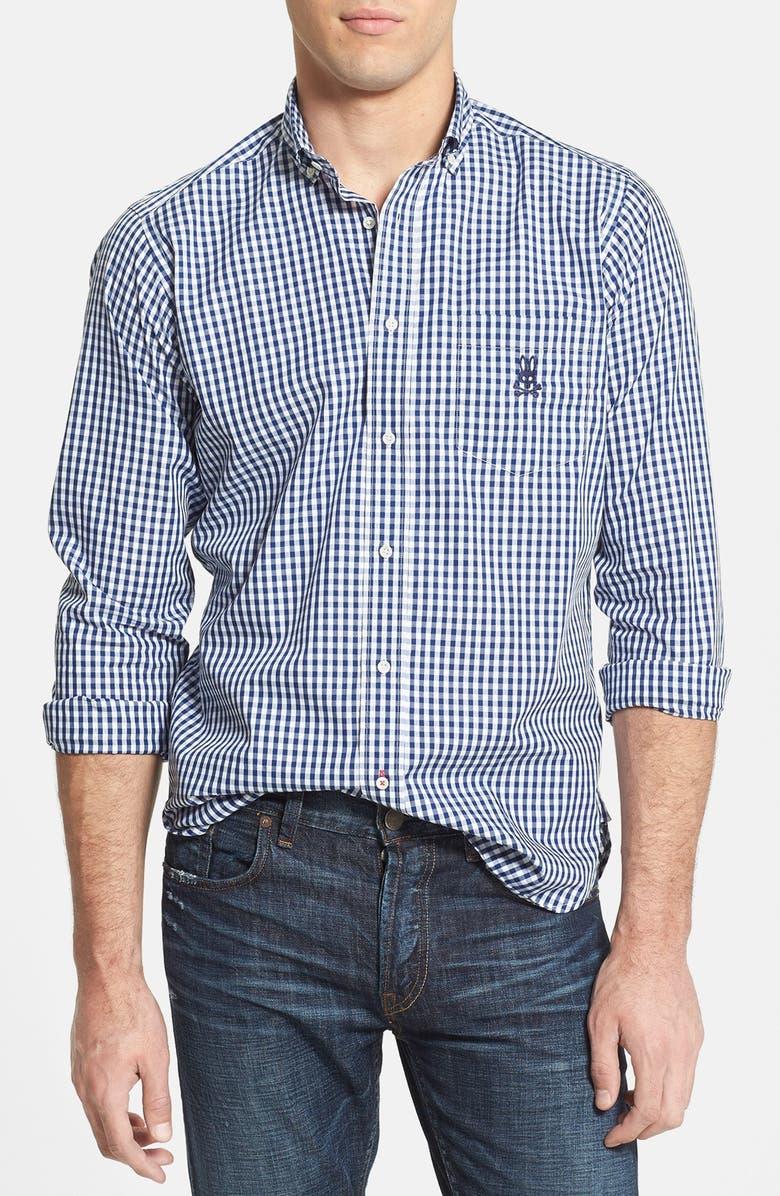 PSYCHO BUNNY 'Windsor' Gingham Sport Shirt, Main, color, 410