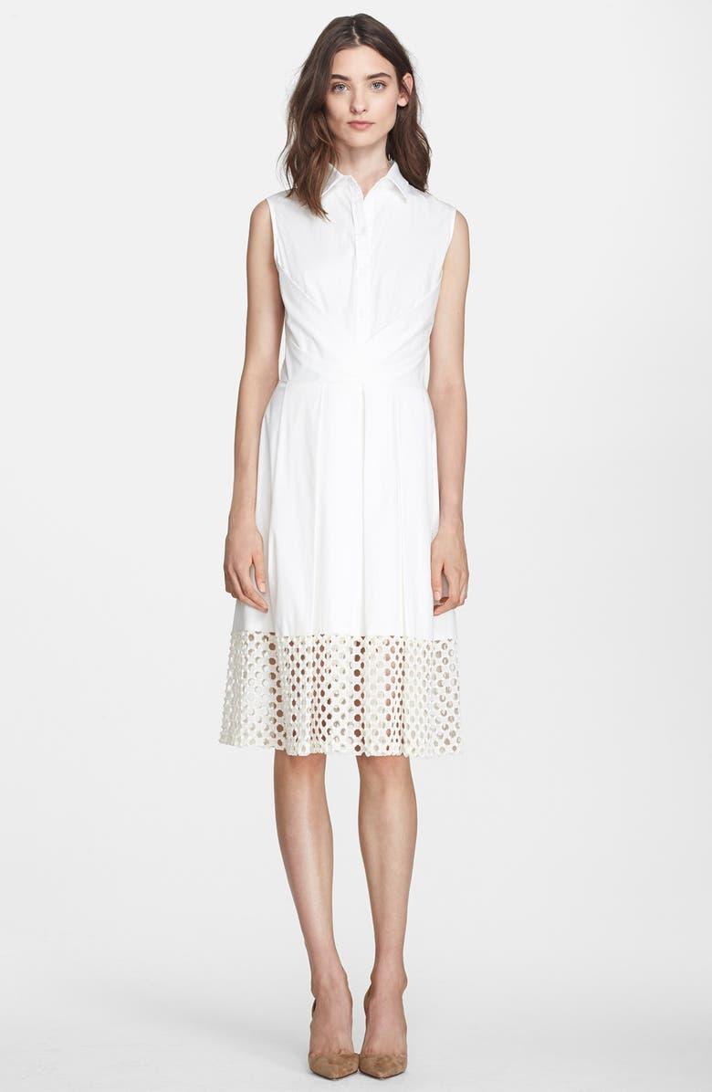 LELA ROSE Button Front A-Line Shirtdress with Guipure Lace Hem, Main, color, 190