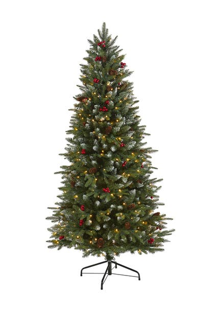 Image of NEARLY NATURAL 6ft. Snow Tipped Portland Spruce Artificial Christmas Tree
