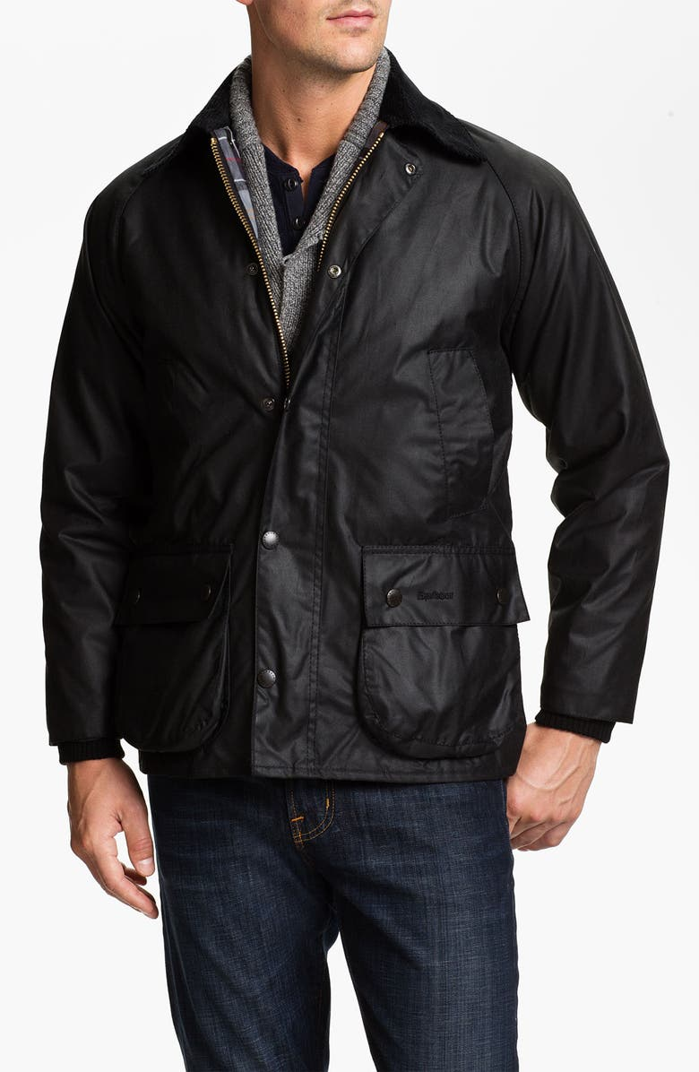 BARBOUR 'Bedale' Regular Fit Waxed Cotton Jacket, Main, color, BLACK