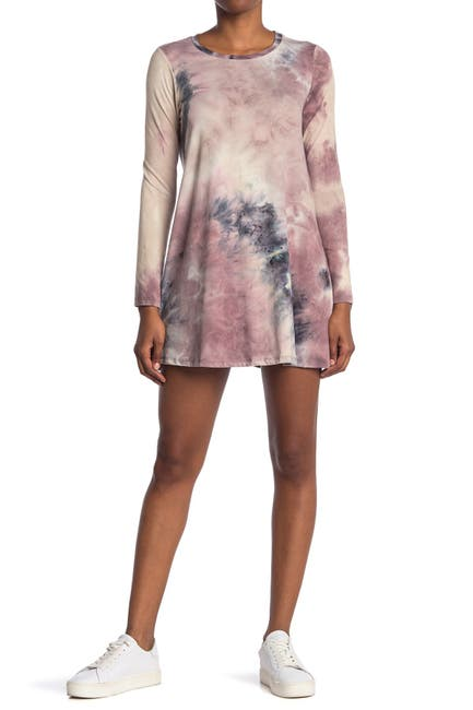 Image of Love, Fire Tie Dye Long Sleeve T-Shirt Dress